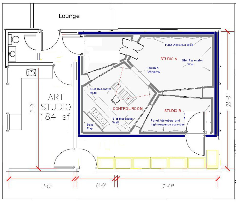 Detached garage studio conversion musicplayer forums for Studio layout plan